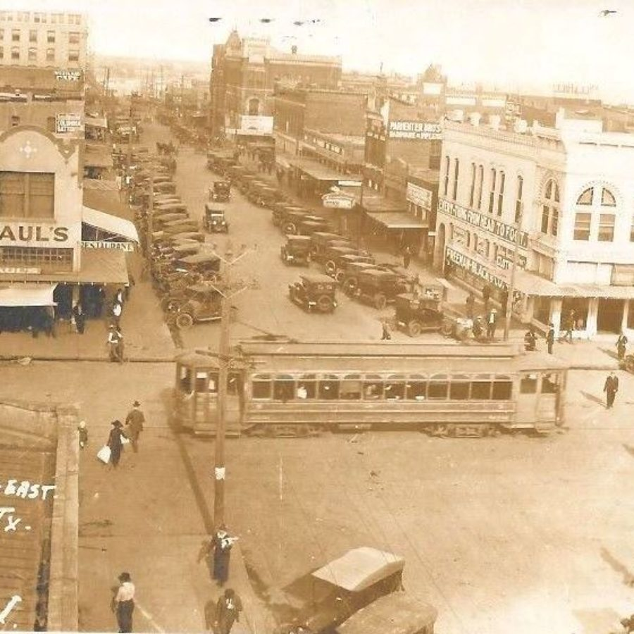 7th and Indiana looking east in Wichita Falls circa 1920